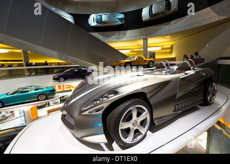 Mercedes-Benz concept cars in museum gallery in Stuttgart, Germany. In front is Mercedes F400 Carving V6 presented - Stock Photo