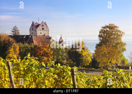 Old Castle in autumn, Meersburg, Lake Constance (Bodensee), Baden Wurttemberg, Germany, Europe - Stock Photo