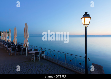 Street cafe on a promenade at sunset, Meersburg, Lake Constance (Bodensee), Baden Wurttemberg, Germany, Europe - Stock Photo