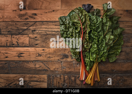group of red and orange chard leaves with bright coloured stems Organic vegetables freshly picked and placed on - Stock Photo