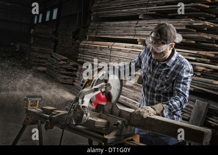 A reclaimed lumber workshop - Stock Photo