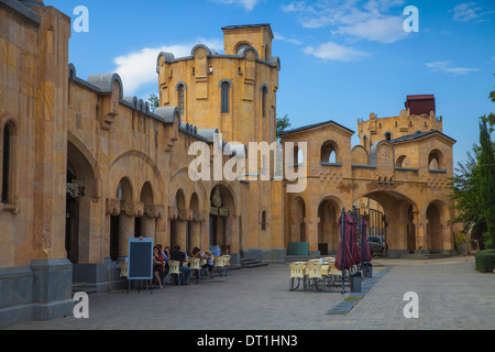 Taminda Sameba Cathedral (Holy Trinity Cathedral), biggest Orthodox Cathedral in the Caucasus, Tbilisi, Georgia, - Stock Photo