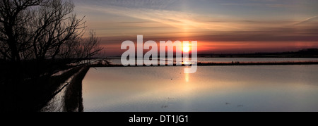 Winter Sunrise over the Whittlesey Washes, Whittlesey town, Cambridgeshire, England, UK - Stock Photo