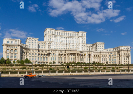 Palace of Parliament, the world's second largest building after the Pentagon, Bucharest, Romania, Europe - Stock Photo