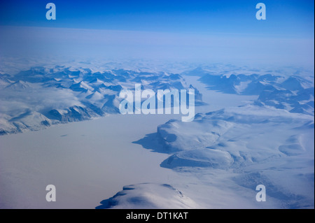 Aerial of the west coast and interior of Baffin Island, Nunavut, Canada, North America - Stock Photo
