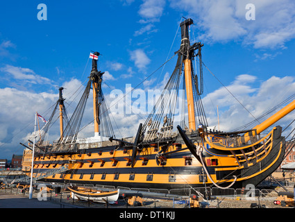 HMS Victory in the Portsmouth Historic Dockyard, Portsmouth, Hampshire, England, United Kingdom, Europe - Stock Photo