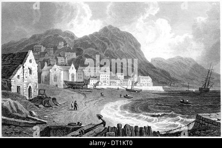 An engraving entitled 'Abermaw, or Barmouth, Merionethshire' scanned at high resolution from a book published in - Stock Photo
