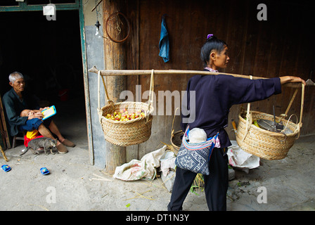 Dong village of Zhaoxing, Guizhou Province, China, Asia - Stock Photo