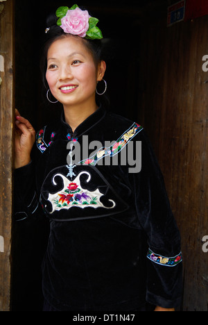 Skirt Miao, Xijiang village, Guizhou Province, China, Asia - Stock Photo