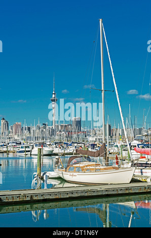 Skyline and yachts at Westhaven Marina, Auckland, North Island, New Zealand, Pacific - Stock Photo