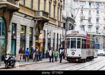 Tram at the city centre, Milan, Lombardy, Italy, Europe - Stock Photo