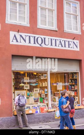 antiquarian bookseller in the old part of heidelberg, heidelberg, baden-wuerttemberg, germany - Stock Photo