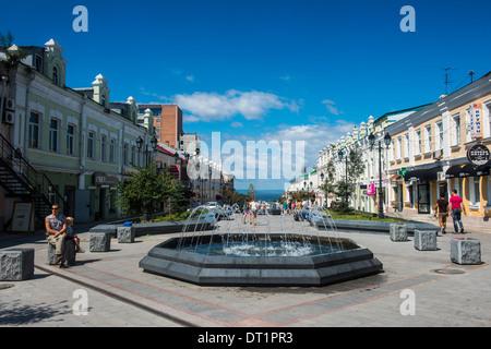 Picturesque Admiral Fokin Street, Vladivostok, Russia, Eurasia - Stock Photo