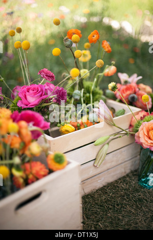 Wedding table decorations A wooden box of fresh flowers delicate and brightly coloured blooms Orange pink and purple - Stock Photo