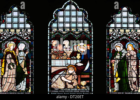 The four Marys, as depicted by William Morris and Burne-Jones, St. Ladoca Church, Ladock, Cornwall, England - Stock Photo