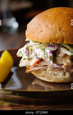 Pulled Pork Sandwich With Coleslaw - Stock Photo