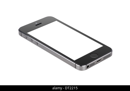 Black modern smartphone with blank screen lies on the surface, isolated on white background. Whole image in focus, - Stock Photo