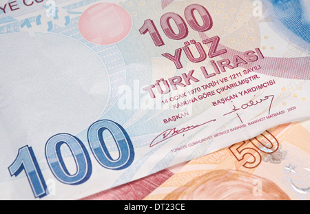 Turkish Currency, A close up of a 100 Lira Note. - Stock Photo