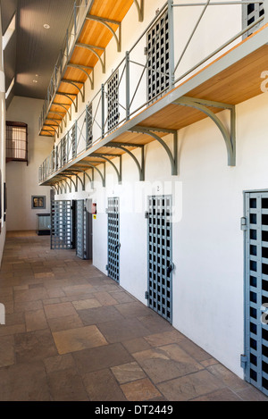 Cells in the Wyoming Territorial Prison Museum, where the outlaw Butch Cassidy was once imprisoned, Laramie, Wyoming, - Stock Photo
