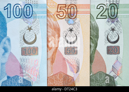 Turkish Currency, a close up of mixed Lira Notes. - Stock Photo