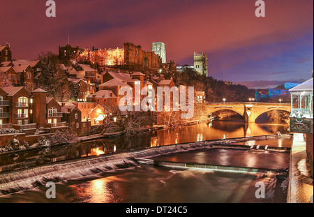 An enchanting scene in Durham showing the Castle, Cathedral and the River Wear - Durham England, UK - Stock Photo