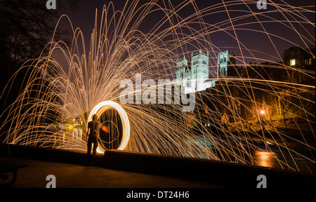 Light painting along the River Wear with the backdrop of Durham cathedral - Durham England - Stock Photo