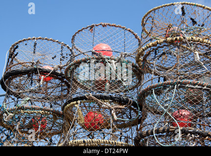 Lobster Pots on the Quayside Brixham in the Torbay area of Devon.England - Stock Photo