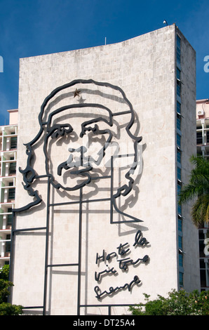 Che Guevara Artwork on Ministerio del Interior Building, Plaza de la Revolution, Havana, Cuba, Caribbean - Stock Photo
