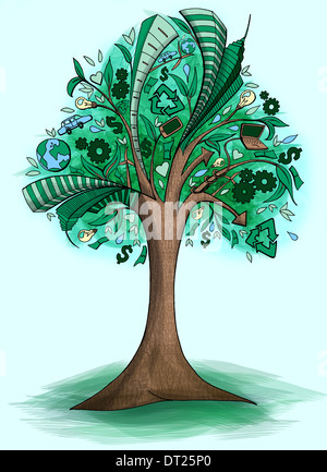 Illustrative image of go green concept over 'colored background' - Stock Photo