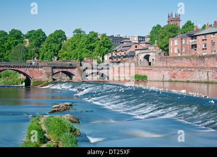 The Old Dee Bridge, Bridgegate & River Dee Weir, Chester, Cheshire, England, UK - Stock Photo