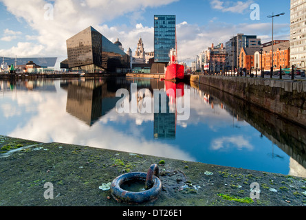 Modern Apartments, The Liver Building and Planet Bar Lightship Over Canning Dock, Liverpool, Merseyside, England, - Stock Photo