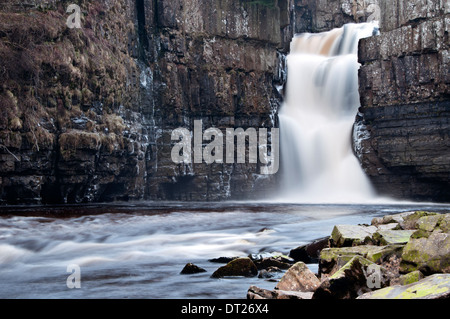 High Force Waterfall on the River Tees, near Middleton-in-Teesdale, Teesdale, County Durham, England, UK - Stock Photo