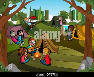 Illustration of children enjoying during camping - Stock Photo