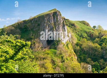 Thor's Cave, On the Manifold Way, Manifold Valley, Peak District National Park, Staffordshire, England, UK - Stock Photo