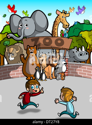Illustration of boy running in front of zoo - Stock Photo