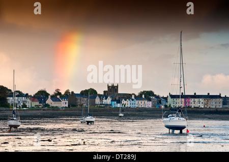 Intense Rainstorm & Rainbow Over Beaumaris, Isle of Anglesey, North Wales, UK - Stock Photo