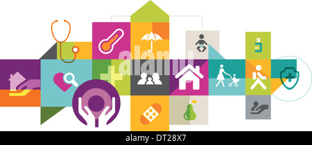 Illustrative collage of insurance over white background