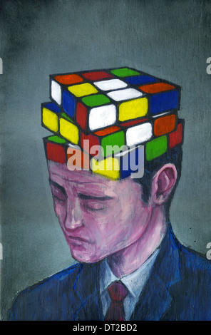 Illustrative image of businessman with block puzzle on his head representing confusion - Stock Photo