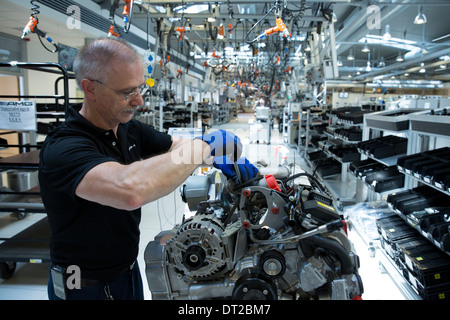 Mercedes-AMG engine production factory in Affalterbach, Germany - engineer hand-building an M275 6 litre V12 biturbo - Stock Photo