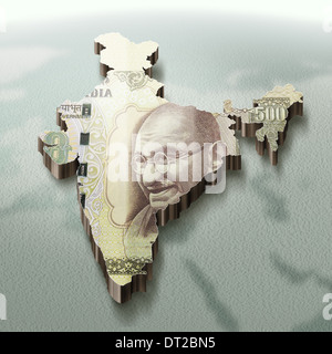 Illustrative image of Indian map made with rupee representing investment