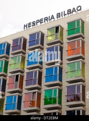 Colourful windows are the trademark of the Hotel Hesperia Bilbao in Bilbao, Spain. - Stock Photo