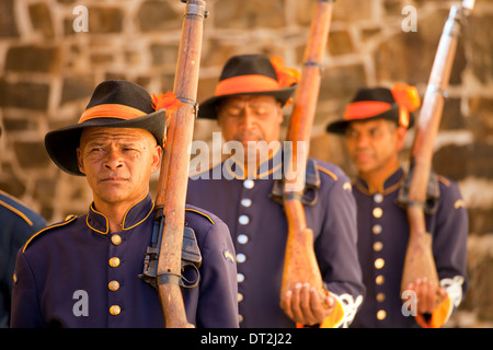 guards in historic uniform during the Key Ceremony at the Castle of Good Hope, Cape Town, Western Cape, South Africa - Stock Photo