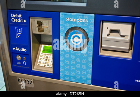 Payment machine for the Compass card on Vancouver BC public transit. - Stock Photo