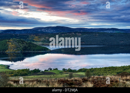 Attractive sunset view from Struie Hill, on the B9176 looking over the Dornoch Firth, Sutherland, Scotland, United - Stock Photo