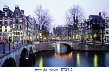 characteristic view of the prinsengracht channel, amsterdam, the netherlands, europe - Stock Photo