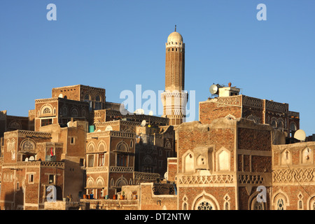 View of the Old City in Sana'a, Yemen, from the Bab al Yaman - Stock Photo
