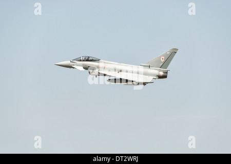 British Royal Air Force Eurofighter FGR4 Typhoon multi role fighter jet t displays at the 2013 Royal International - Stock Photo