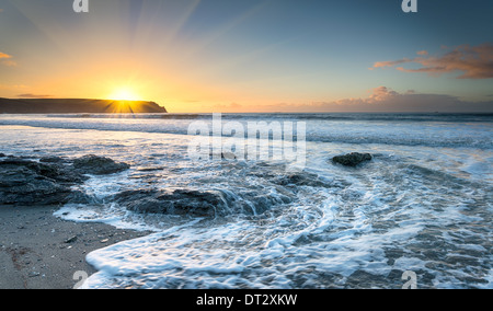 Sunrise at Pendower beach on the Roseland Peninsula in Cornwall - Stock Photo