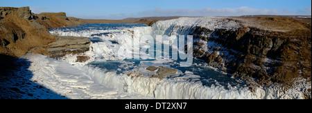 Gullfoss Waterfall, Polar Region, Iceland - Stock Photo