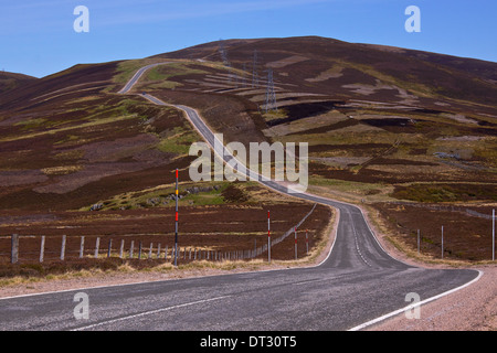 Picturesque road in Scottish Highlands, Cairngorm National Park near Lecht Ski Resort - Stock Photo